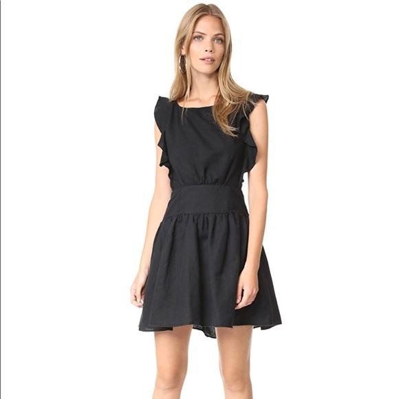 f994917dda5 Free People Erin Linen Ruffle Trim Mini Dress M